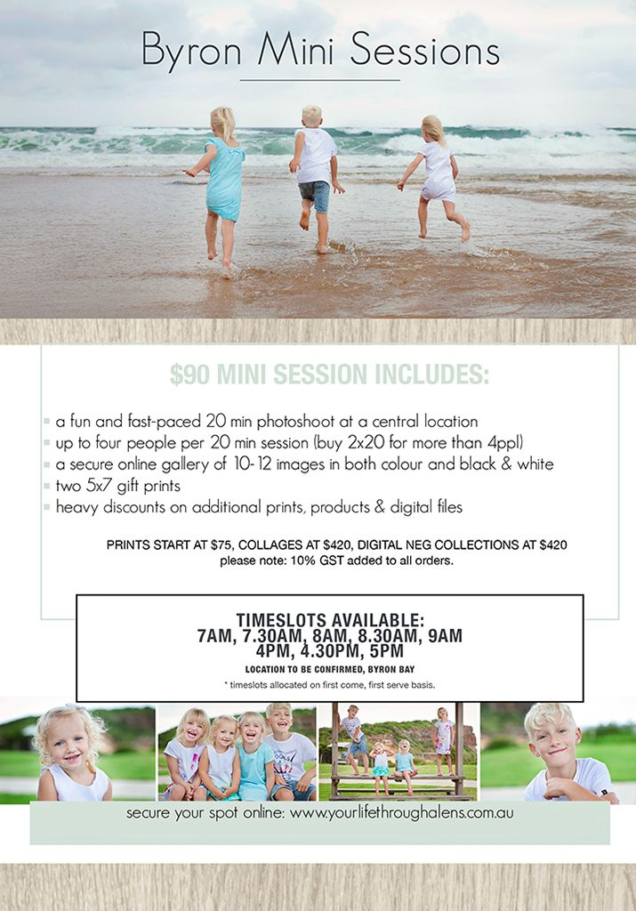***ONE DAY ONLY***  Byron Mini Sessions Monday 16th March 2015  UPDATE YOUR PORTRAITS AT A FRACTION OF