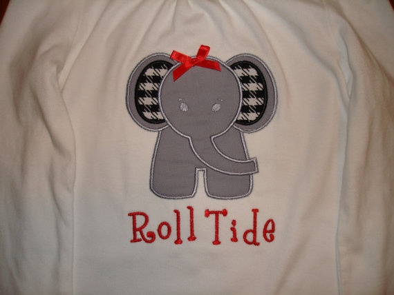 Items similar to Shirt- Elephant w/ houndstooth ears for Boy/Girl, Alabama  Roll Tide on Etsy