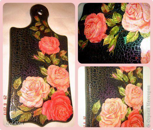 Itens de decoração Decoupage cracelures rosas e papoulas na foto preto 1 2 Madeira
