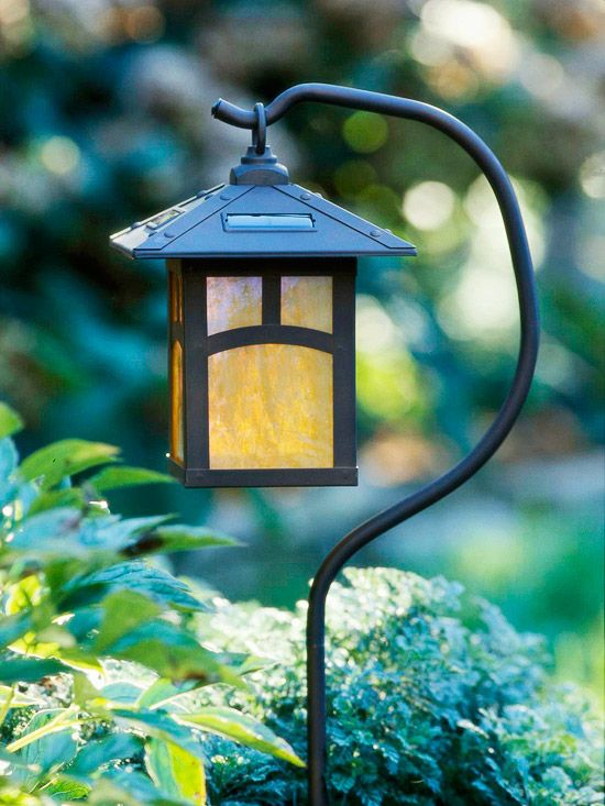 Install Solar Lighting:  Instead of installing a low-voltage lighting system, take advantage of the sun with solar-powered lights. Solar-powered path lights are a cinch to install. Choose an area that receives at least eight hours of full sun per day, and either hang the lights or mount them on ground stakes.