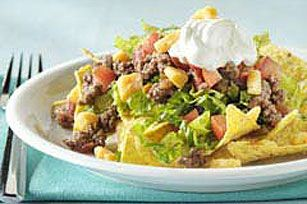 Fiesta Taco Salad. So easy & good! I would add black beans to the recipe. From kraftrecipies.com