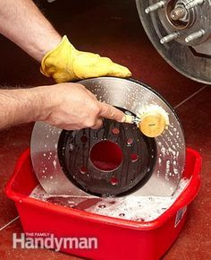 For a front brake job that lasts, wash and dry the rotor. How to Change Front Brake Pads: http://www.familyhandyman.com/automotive/car-brakes/how-to-change-front-brake-pads/view-all