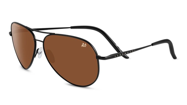 Serengeti Sunglasses Panarea 24h Aviator Satin Black Polarized Drivers 8487