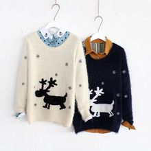 2015 Autumn Winter Reindeer Sweater Women's Long Sleeve Christmas Sweaters Casual Loose Knitted Snowflake Camisola Feminina(China (Mainland))