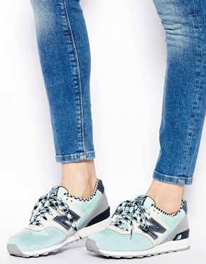 New Balance Blue Check Suede Mix 996 Trainers