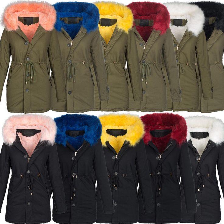 Damen Winter Jacke warme Winterjacke Baumwolle Parka Mantel Buntes Fell B444 in Kleidung & Accessoires, Damenmode, Jacken & Mäntel   eBay!