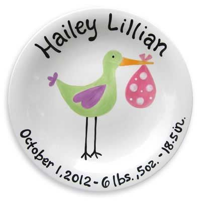 Personalized 'Just Arrived' Stork Plate for Girl – ChristianGiftsPlace.com Online Store