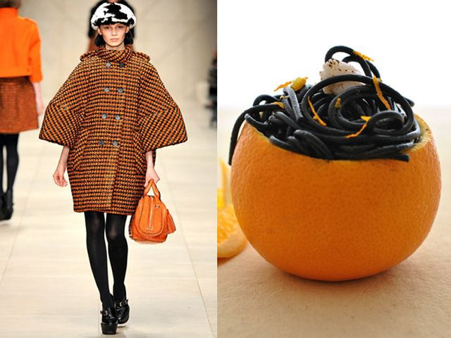 Burberry Prorsum fw 2011-12 / Spaghetti in squid ink sauce with orange-marinated-shrimps
