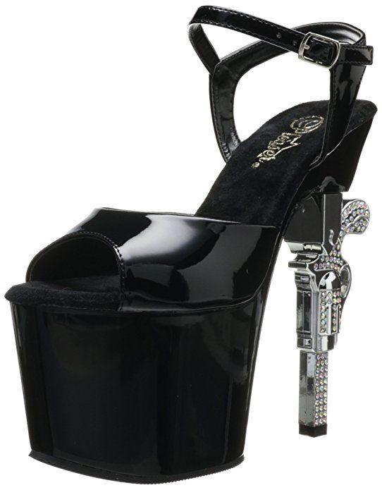 """Обувь для Pole Dance Go Go Стриптиза Фитнес-бикини Чёрные лакированные стрипы-босоножки REVOLVER-709-BM со стразами на хромированном каблуке-пистолете Бренд: Pleaser - США Высота каблука: 17,8 см Высота платформы: 8,3 см Актуальная цена, выбор модели, размера, купить в интернет-магазине """"Золушка"""": http://www.zolushka777.com.ua/products/revolver-709_bm Отправляем (по Украине и в другие страны) через 2 недели с момента осуществления нами заказа у производителя. Заказ у производителя делаем…"""