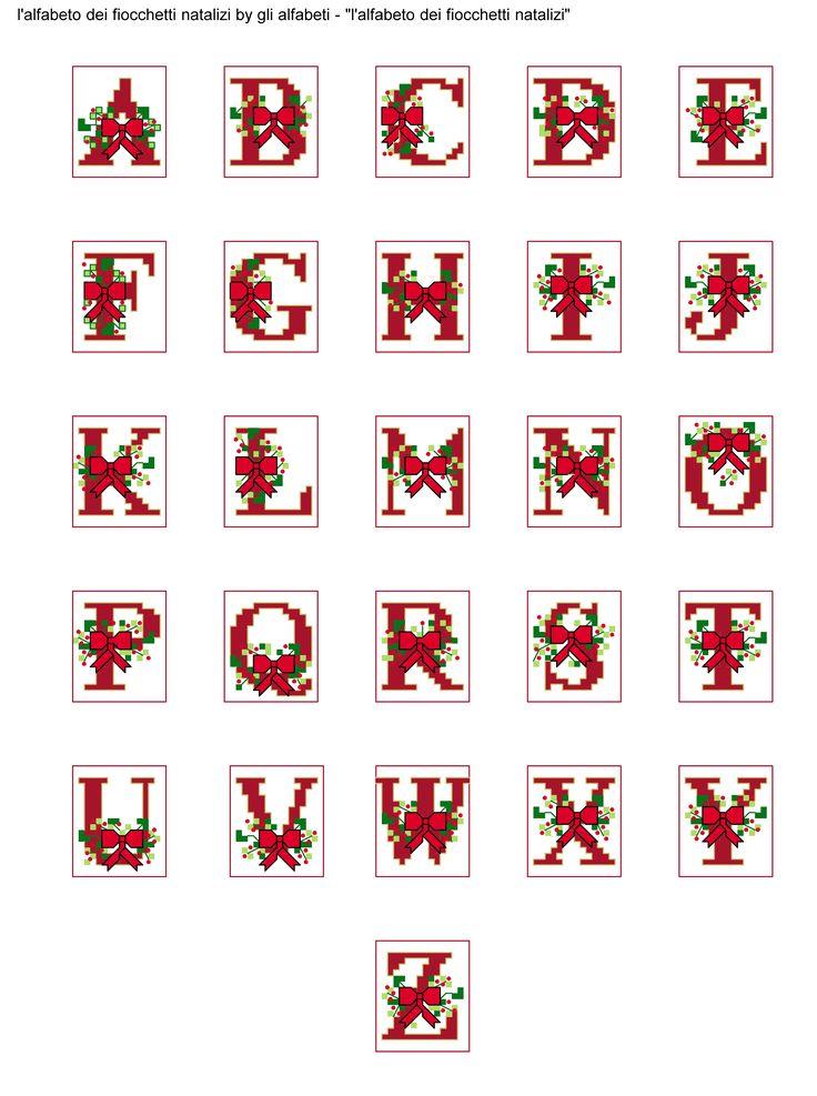 alfabeto dei fiocchetti natalizi
