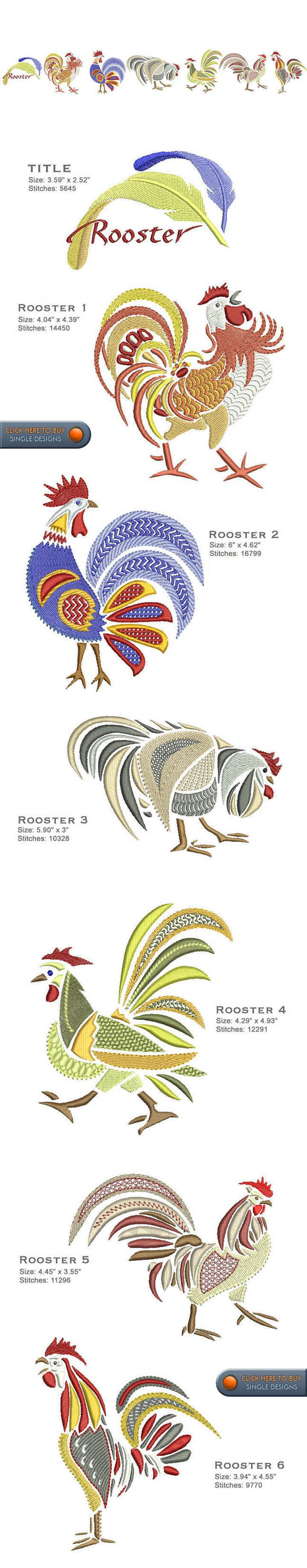 ROOSTERS Embroidery Designs Free Embroidery Design Patterns Applique