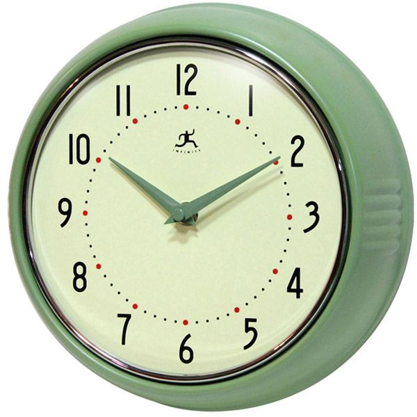 green fifties style kitchen wall clock. beautiful ideas. Home Design Ideas