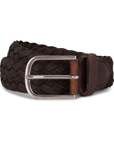 Morris Heritage Braided Suede 4 cm Belt Dark Brown i gruppen Design B / Accessoarer / Bälten / Flätade bälten hos Care of Carl (12213211r)