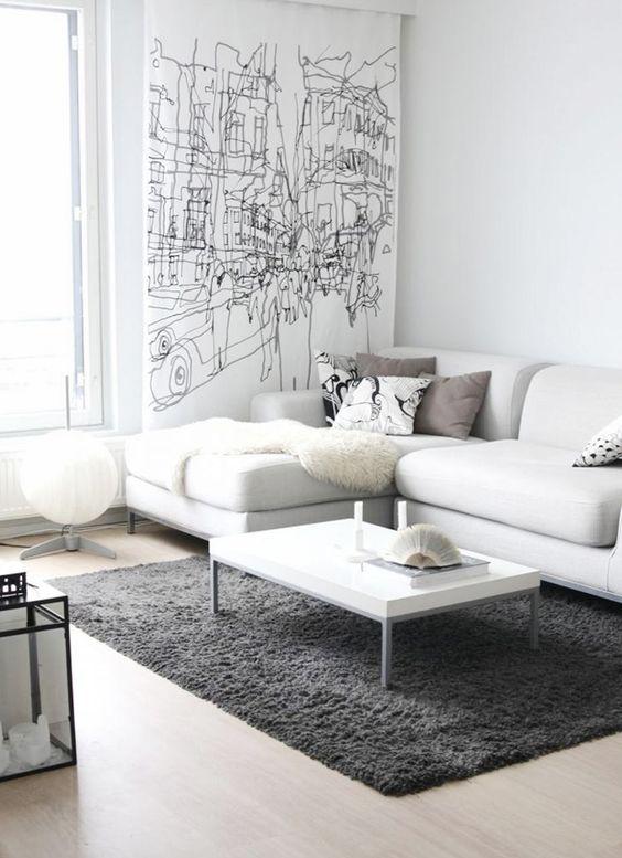The #marimekko #hetkia print can double as curtains and as wall art! It is both chic and artful. Available at http://kiitosmarimekko.com/products/hetkia-fabric-black-white-grey: