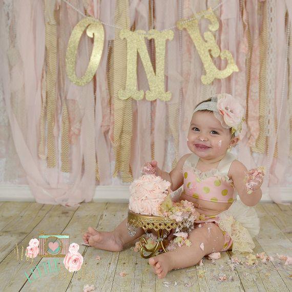 Pink and gold Cake Smash set by MyLittleStinky on Etsy