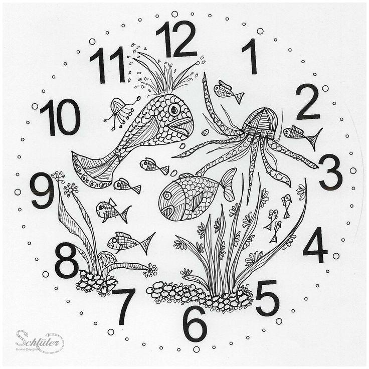 Zifferblatt für Uhr mit Fischen, gezeichnete Fische auf Ziffernblatt,