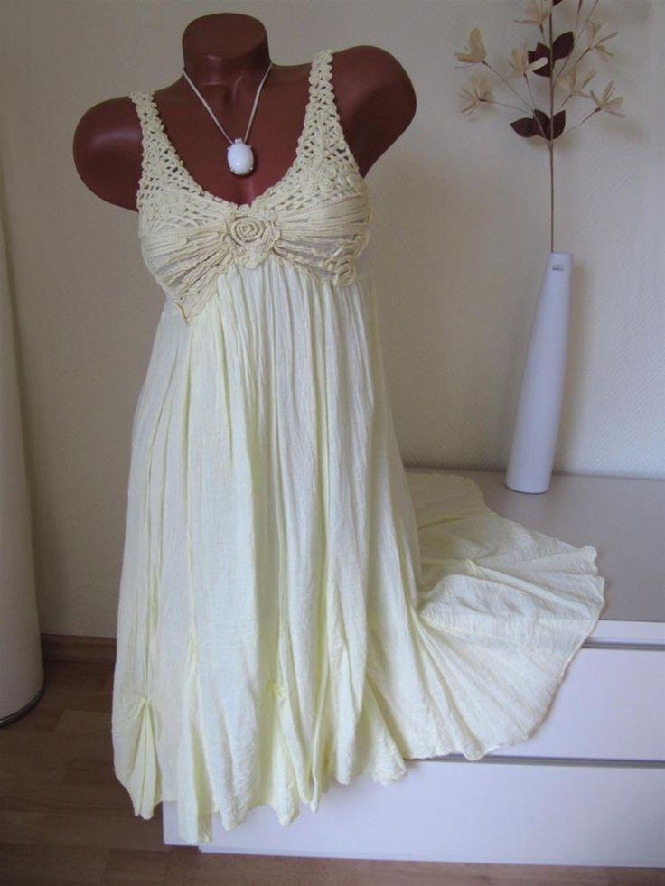 Langes Sommerkleid Kleid Tunika Häkel Spitze weitschwingend 36 38 40 in Kleidung & Accessoires, Damenmode, Kleider   eBay