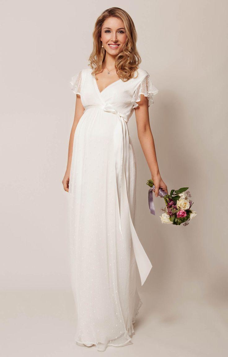 Hannah Umstandshochzeitskleid lang Elfenbein - Umstandshochzeitskleider, Abendgarderobe und Partykleidung by Tiffany Rose.