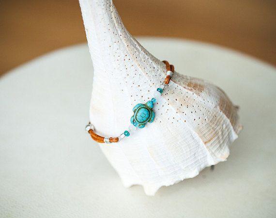 Sea Turtle Bracelet Leather Bracelet Hawaii by Wildbeautyjewelry