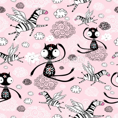texture cats and flying zebras Royalty Free Stock Vector Art Illustration