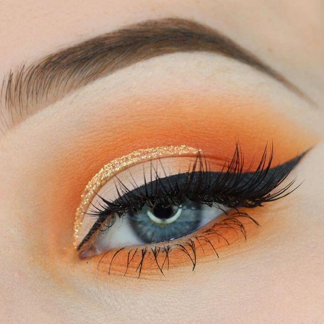 Orange Soda Makeup Tutorial by Mary Belford. Makeup Geek Eyeshadow in Creme Brulee, Early Bird, Chickadee and Morocco.