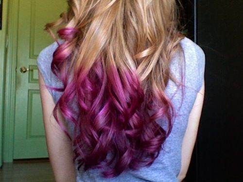 purple/pink dipped hair