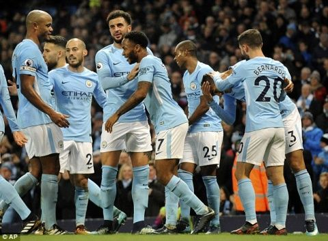 Manchester Citys incredible scoring machine looks set to smash Chelseas Premier League goals record five games early and that is set to be grudge derby clash against United!