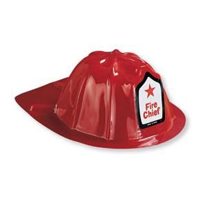 1093 - Firefighter Fire Hat Hat, Red plastic junior Firefighter. One size fits most with elastic.  Each
