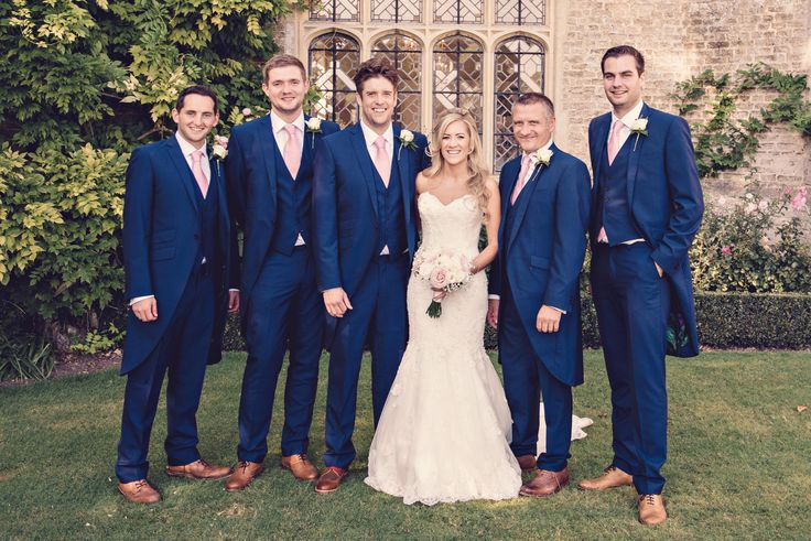 #wedspiration real life wedding at Hengrave Hall, navy tails