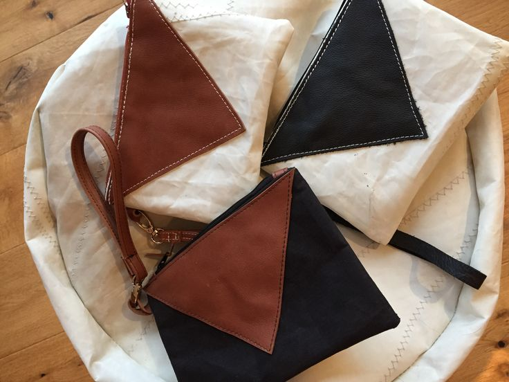 Clutch bags made from Sailcloth and leather