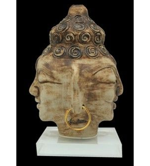 Twin Buddha Stoneware Sculpture