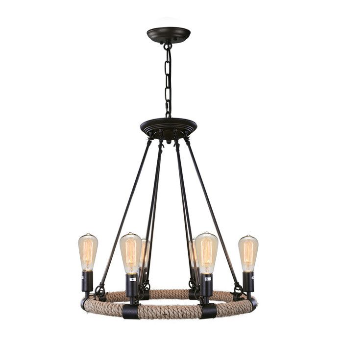 Industrial 6 light candle style chandelier
