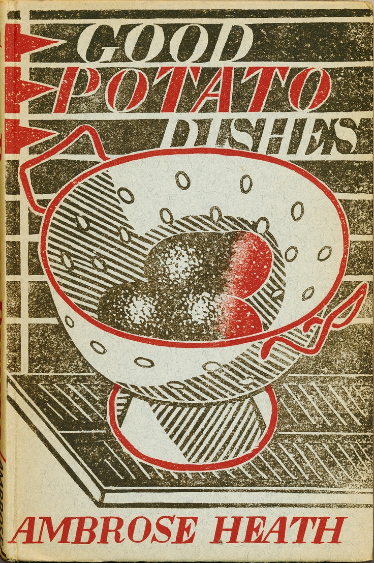 Edward Bawden Linocut design for the cover of Good Potato Dishes by Ambrose Heath