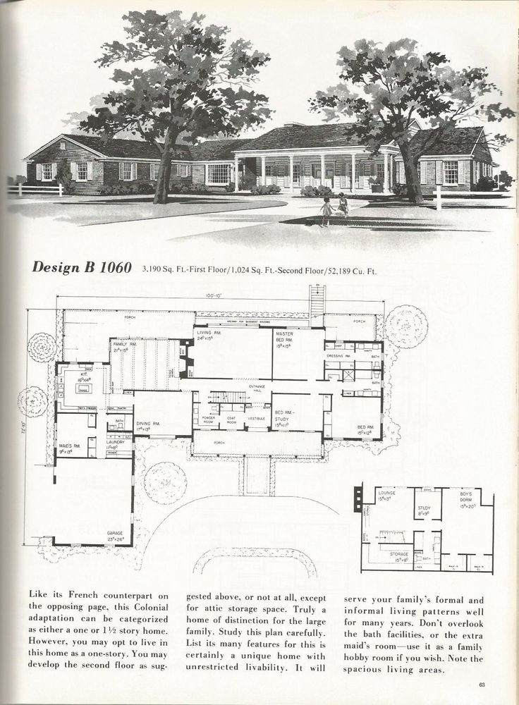 20 best vintage ranch floor plans images on pinterest for Vintage ranch house plans