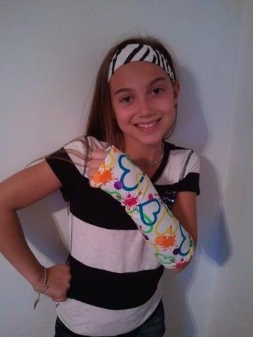 """CastCoverZ! Armz!       Fashion arm cast covers for your splint, brace or cast. Shown here in our adorable """"Splattered Hearts"""""""