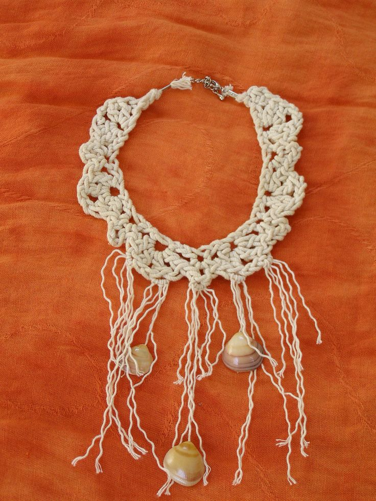 Statement crochet necklace with shells , summer 2014