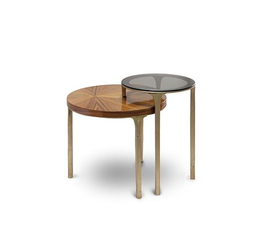 LURAY Is A Modern Brass Side Table With 2 Table Tops, Palisander Wood  Veneer In The Lower One And Bronze Glass In The Superior.
