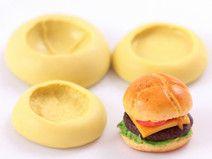 3 Moules silicone Pain Hamburger Bun + Steak Fimo pour vos créations en pâte Fimo. A retrouver dans la boutique Clay Everyday, notre coup de coeur du moment ! Yummi ! Sur DaWanda.com