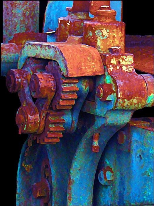 """photo by E.J. Lefavour, she says """"Definitely photoshop. When I enhanced the rust, all the other colors popped out so I left them. I thought it made it alot prettier than a plain old rusted machine part."""""""