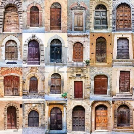 Collage de nombreux vieilles portes rustiques de la Toscane, Italie photo