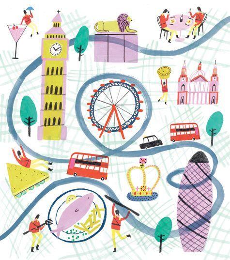 London landmark map by Charlotte Trounce