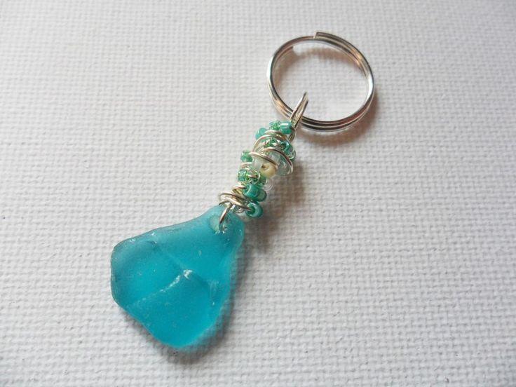 Aqua blue English sea glass beaded bag charm keyring #handmade
