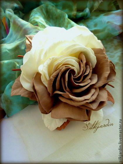 """ЦВЕТОК ИЗ ФОАМИРАНА. брошь-заколка роза """"Кармелита"""" - коричневый,брошь из фоамирана"""