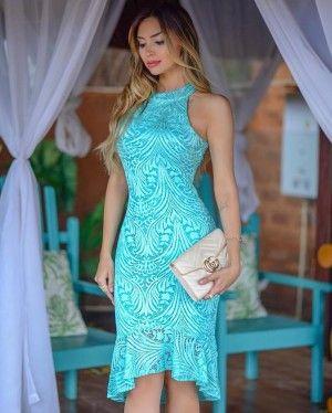 3976101bd7  Helena  Vestido Festa Midi Mullet em Renda com Babado na Barra Madrinha  Casamento - Nathália Rezende (cor Verde Tiffany)