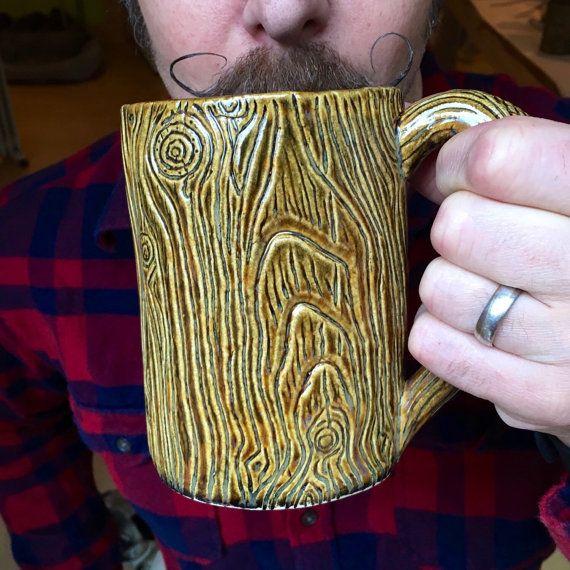 Lumberjack Pottery Mug Morning Wood by FernStreetPottery on Etsy