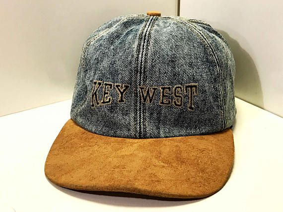 Vintage Denim Baseball Cap // Key West Florida Tourist Hat // Acid Wash Denim and Suede Hat // Velcro Snap Back Two Tone Cap // Retro Dad Hat // Blue Collar Cap // Embroidered Baseball Cap // Key West Hat // Key West // Unisex Cap // Unisex Snapback // Adjustable Velcro Cap // Unisex Snap Back // souvenir Hat DETAILS! Label: Unknown Era: 80s/90s Color: Light B...