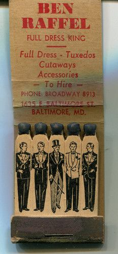 Ben Raffel Full Dress King Feature Matchbook Baltimore MD Tuxedo Store | eBay