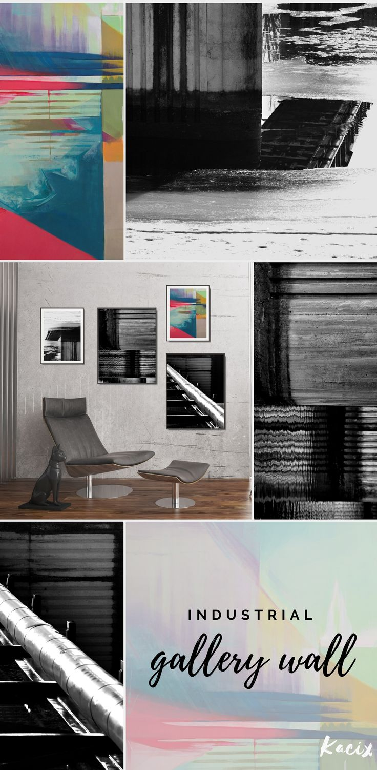Looking for industrial living room decor? Get inspired by this set of printables in a bold color palette! Modern abstract compositions with creative shapes, lights, and shadows, ready to print! Create abstract gallery wall! #abstractart #abstract #gallerywall #kacixart #printableart #walldecor #industrialdecor #moderninteriordesign