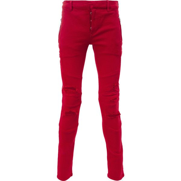 Balmain ripped skinny jeans ($650) ❤ liked on Polyvore featuring men's fashion, men's clothing, men's jeans, red, mens red jeans, mens ripped jeans, mens slim fit jeans, balmain men's jeans and mens destroyed skinny jeans