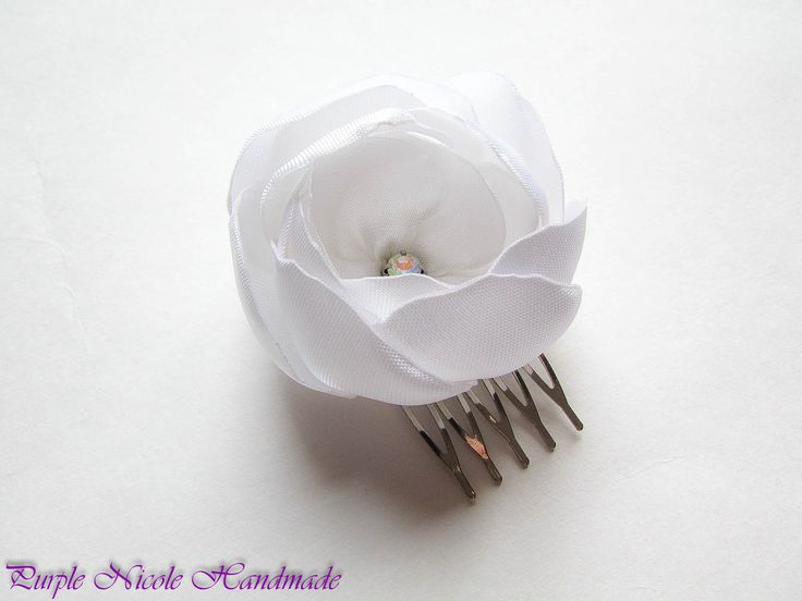 Peony - Handmade Bridal Decorative Hair Comb Flower by Purple Nicole (Nicole Cea Mov). Materials: satin, rhinestone.